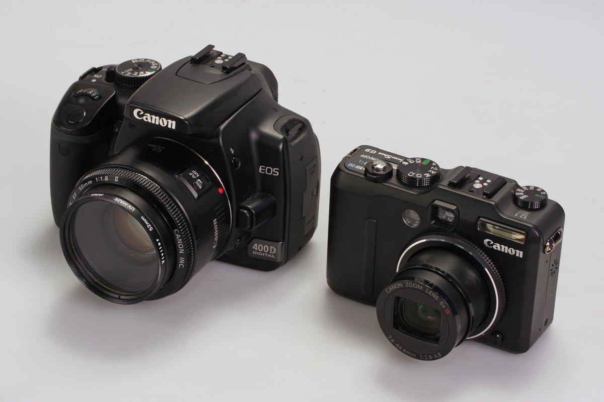 De spiegelreflex is tegenwoordig weinig groter dan een compactcamera.